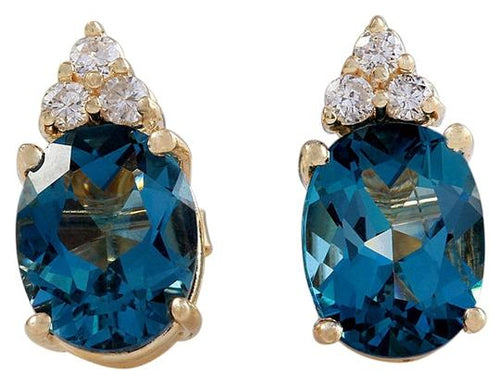 Exquisite 4.70 Carats Natural London Blue Topaz and Diamond 14K Solid Yellow Gold Stud Earrings