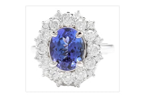 3.80 Carats Natural Very Nice Looking Tanzanite and Diamond 14K Solid White Gold Ring