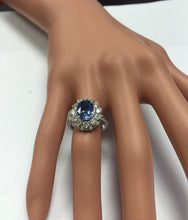 Load image into Gallery viewer, 3.80 Carats Natural Very Nice Looking Tanzanite and Diamond 14K Solid White Gold Ring