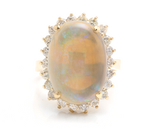 Load image into Gallery viewer, 9.10 Carats Natural Impressive Australian Opal and Diamond 14K Solid Yellow Gold Ring