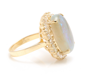 9.10 Carats Natural Impressive Australian Opal and Diamond 14K Solid Yellow Gold Ring