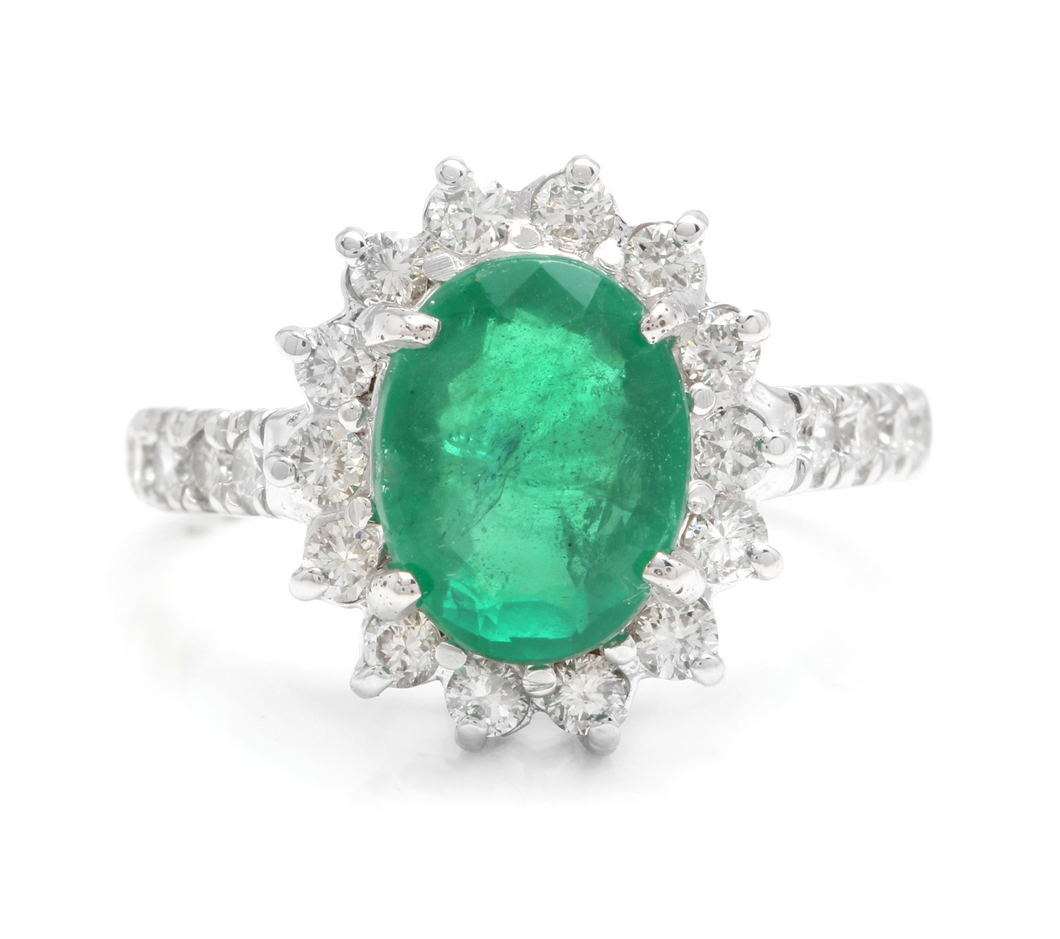 4.00 Carats Natural Emerald and Diamond 14K Solid White Gold Ring