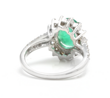 Load image into Gallery viewer, 4.00 Carats Natural Emerald and Diamond 14K Solid White Gold Ring