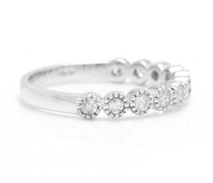 Splendid 0.40 Carats Natural Diamond 14K Solid White Gold Ring