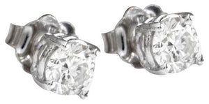 Exquisite .80 Carats Natural Diamond 14K Solid White Gold Stud Earrings