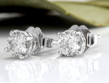 Load image into Gallery viewer, Exquisite .80 Carats Natural Diamond 14K Solid White Gold Stud Earrings