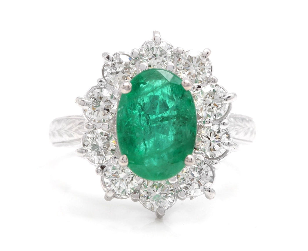 5.20 Carats Exquisite Emerald and Diamond 14K Solid White Gold Ring