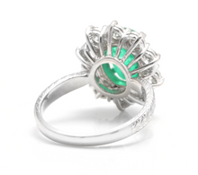Load image into Gallery viewer, 5.20 Carats Exquisite Emerald and Diamond 14K Solid White Gold Ring