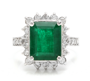 5.40 Carats Natural Emerald and Diamond 14K Solid White Gold Ring