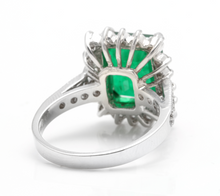 Load image into Gallery viewer, 5.40 Carats Natural Emerald and Diamond 14K Solid White Gold Ring