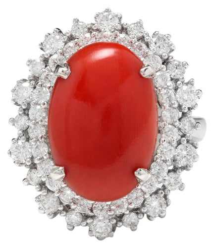 8.00 Carats Impressive Coral and Diamond 14K White Gold Ring