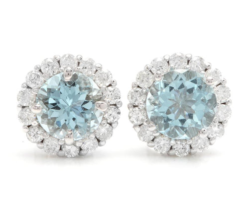 Exquisite 3.75 Carats Natural Aquamarine and Diamond 14K Solid White Gold Stud Earrings