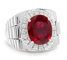 Load image into Gallery viewer, 9.70 Carats Natural Diamond & Ruby 14K Solid White Gold Men's Ring