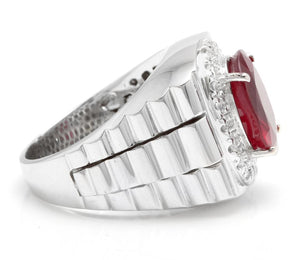 9.70 Carats Natural Diamond & Ruby 14K Solid White Gold Men's Ring