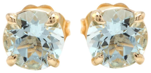 Exquisite 2.00 Carats Natural Aquamarine 14K Solid Yellow Gold Stud Earrings
