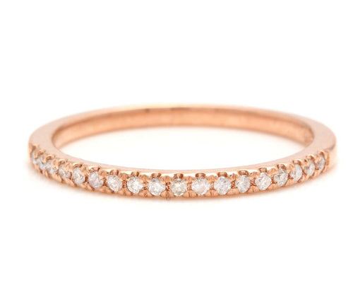 14K Solid Rose Gold Diamond Wedding Band Ring