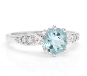 1.82 Carats Impressive Natural Aquamarine and Diamond 14K Solid White Gold Ring