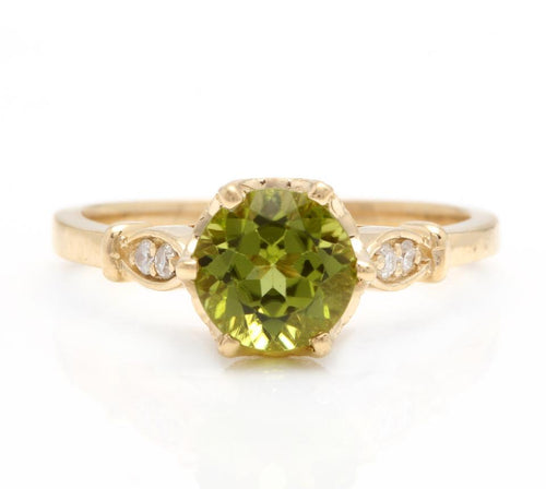 1.58 Carats Impressive Natural Peridot and Diamond 14K Yellow Gold Ring