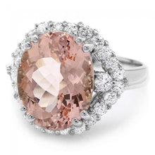 Load image into Gallery viewer, 7.15 Carats Exquisite Natural Morganite and Diamond 14K Solid White Gold Ring