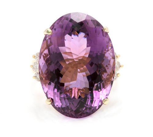 28.25 Carats Natural Amethyst and Diamond 14K Solid Yellow Gold Ring