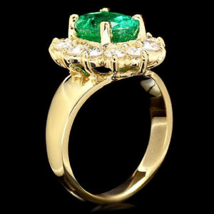 4.20 Carats Natural Emerald and Diamond 14K Solid Yellow Gold Ring