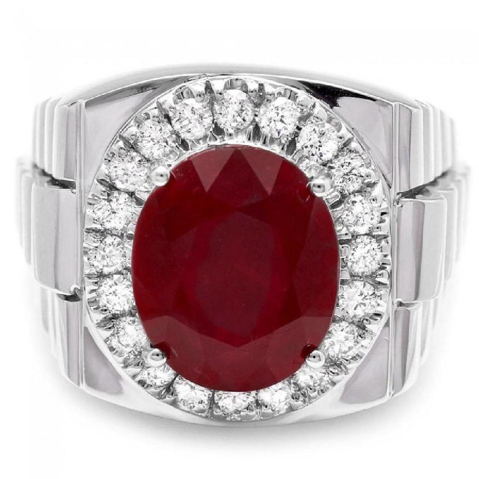 10.20 Carats Natural Diamond & Ruby 18K Solid White Gold Men's Ring