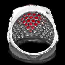 Load image into Gallery viewer, 10.20 Carats Natural Diamond & Ruby 18K Solid White Gold Men's Ring