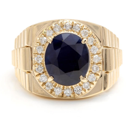 8.70 Carats Natural Diamond & Blue Sapphire 14K Solid Yellow Gold Men's Ring