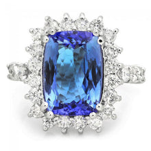 Load image into Gallery viewer, 5.65 Carats Natural Very Nice Looking Tanzanite and Diamond 14K Solid White Gold Ring