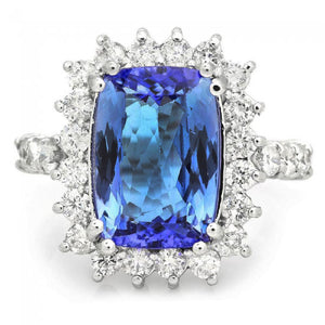 5.65 Carats Natural Very Nice Looking Tanzanite and Diamond 14K Solid White Gold Ring