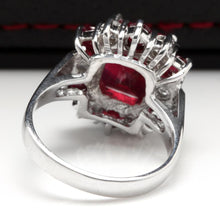 Load image into Gallery viewer, 7.05 Carats Impressive Natural Red Ruby and Diamond 14K White Gold Ring