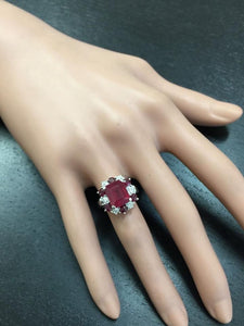7.05 Carats Impressive Natural Red Ruby and Diamond 14K White Gold Ring