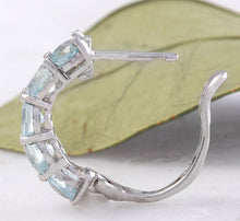 Load image into Gallery viewer, Exquisite Top Quality 2.40 Carats Natural Aquamarine 14K Solid White Gold Huggie Earrings