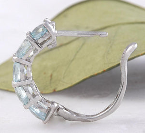 Exquisite Top Quality 2.40 Carats Natural Aquamarine 14K Solid White Gold Huggie Earrings
