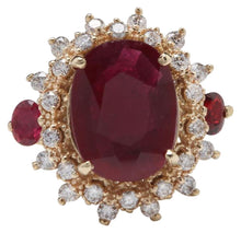 Load image into Gallery viewer, 6.00 Carats Impressive Red Ruby and Diamond 14K Yellow Gold Ring