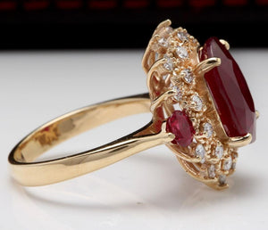 6.00 Carats Impressive Red Ruby and Diamond 14K Yellow Gold Ring