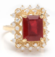 Load image into Gallery viewer, 7.80 Carats Impressive Red Ruby and Natural Diamond 14K Yellow Gold Ring
