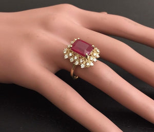 7.80 Carats Impressive Red Ruby and Natural Diamond 14K Yellow Gold Ring