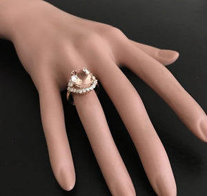 6.75 Carats Exquisite Natural Morganite and Diamond 18K Solid Rose Gold Ring