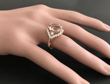Load image into Gallery viewer, 6.75 Carats Exquisite Natural Morganite and Diamond 18K Solid Rose Gold Ring