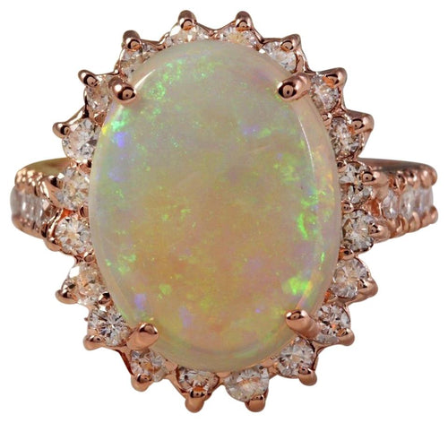 5.85 Carats Natural Impressive Australian Opal and Diamond 14K Solid Rose Gold Ring