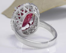 Load image into Gallery viewer, 9.65 Carats Impressive Natural Red Ruby and Diamond 14K White Gold Ring