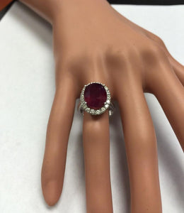 9.65 Carats Impressive Natural Red Ruby and Diamond 14K White Gold Ring