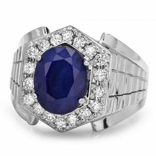 4.60 Carats Natural Diamond & Blue Sapphire 14K Solid White Gold Men's Ring