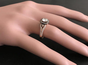 1.16 Carats Splendid Natural Diamond 14K Solid Rose Gold Band Ring