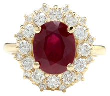 Load image into Gallery viewer, 6.30 Carats Impressive Red Ruby and Diamond 14K Yellow Gold Ring