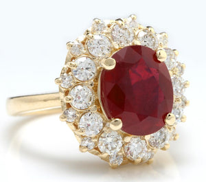 6.30 Carats Impressive Red Ruby and Diamond 14K Yellow Gold Ring