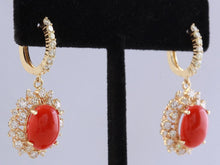 Load image into Gallery viewer, Exquisite 8.40 Carats Natural Red Coral and Diamond 14K Solid Yellow Gold Earrings
