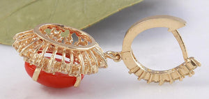 Exquisite 8.40 Carats Natural Red Coral and Diamond 14K Solid Yellow Gold Earrings