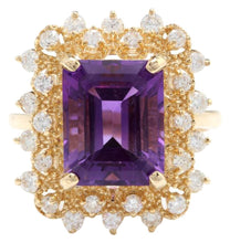 Load image into Gallery viewer, 5.80 Carats Impressive Natural Amethyst and Diamond 14K Solid Yellow Gold Ring